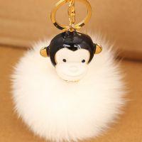 韩国时尚大嘴猴狐狸毛新款车挂件汽车钥匙扣汽车挂件车挂J129-121