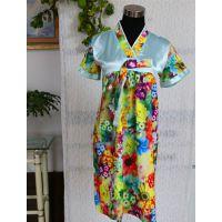 厂家直销2014新款印花韩版高档仿真丝睡裙 女式睡衣 家居服批发