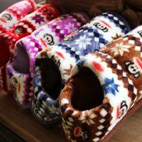韩版冬季保暖卡通头像棉拖鞋 条纹嘻哈猴包根保暖棉鞋 硬底棉拖