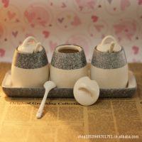 大理石纹理调味罐套装/调料瓶/带托盘勺子/厨房餐桌实用糖盒盐罐