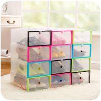 彩色透明翻盖鞋盒 加厚塑料抽屉式鞋子收纳盒 自由组合整理盒142g