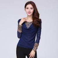 秋装新款女 韩版修身显瘦 假两件豹纹拼接烫钻长袖大码网纱打底衫