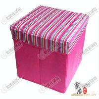 【厂家直批】优质无纺布 可折叠 收纳箱/收纳凳 正方形粉色条纹