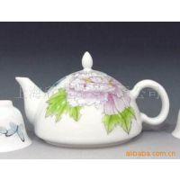供应彩绘茶壶、高档茶具礼品、景德镇陶瓷手绘茶具