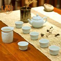 贝玉景德镇陶瓷器高档影青盖碗影青瓷铁观音功夫茶具茶壶6人套装