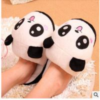 批发出口卡通仿真表情熊猫家居毛绒半包跟棉拖鞋 创意拖鞋批发