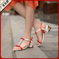 正品特价Q5-L496蓝色淑女女鞋出口中跟(3-5CM)39码凉鞋一件代发