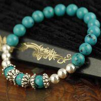 厂家直销 女式手饰银饰 叶子型时尚高贵 绿松石串珠手链 高品质