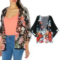 LF031 韩版时尚甜美花朵印花蝙蝠袖花仙子百搭披肩宽松雪纺衫外套