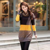 2014秋冬韩版修身女装高领拼色包臀针织衫 加厚长款毛衣