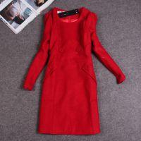 JY8838韩版人气款女装秋冬季新款婚礼敬酒红色毛呢双排扣连衣裙