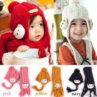 2014韩国冬季新款儿童小熊套帽 卡通头帽子 围巾宝宝护耳帽批发