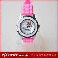 2014新款可爱卡通迪士尼凯蒂猫12颗钻学生hellokitty硅胶手表