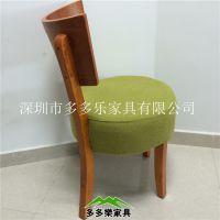 仿古暗色经典酒店酒楼客服奶茶店实木椅 木质无扶手餐桌椅
