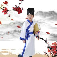 儿童节专用民族表演服装 孔娃牌孔子教学幼儿园单排扣纯棉国学衣服