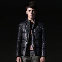 2014冬装新款修身防风保暖纯色棉衣外套型男