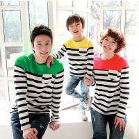 2014新款秋款长袖3色条纹亲子装一家三口韩版全家装 淘宝创业产品