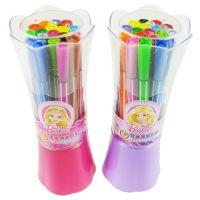 新款正品授权迪士尼 花束筒装芭比水彩笔 18色可洗水彩笔 BL8156