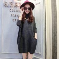 2014秋装新款韩版女式针织衫高领宽松纯色条状打底衫中长款大毛衣
