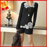 供应2014秋装韩版修身纯棉长袖打底衫t恤女装一件代发免费代理加盟