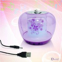 供应热卖MP3水晶苹果音箱 迷你USB音响/魅惑音乐七彩苹果音箱电脑音箱