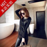 8301#新款秋装上新女装U皮拼接韩版时尚长袖T恤圆领打底衫