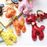 2014新款 出口韩国 鸵鸟纹皮质长颈鹿钥匙扣 车挂件 包包挂件