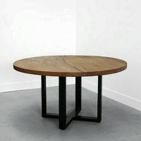 美式乡村仿古做旧圆桌矮桌边几铁艺餐桌  厂家定做实木大圆桌