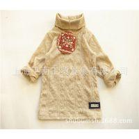 日本原单童装 童T恤 高领本色麻花柳儿童打底衫 加厚长袖童T恤