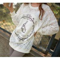 2014韩版新款上衣蕾丝刺绣镂空长袖打底衫中长款蕾丝包臀衫