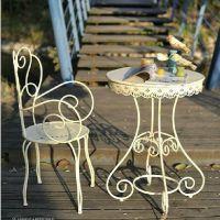 法式乡村复古铁艺休闲桌田园地中海花园阳台圆桌LOFT咖啡桌酒吧桌