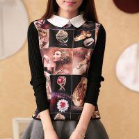 厂家批发秋冬新款韩版衬衫领印花针织衫打底衫 可爱长袖毛衣