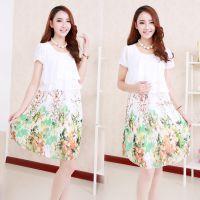 2014夏装新款韩版假两件雪纺碎花 孕妇连衣裙