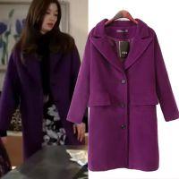 韩版秋季来自星星的你千颂伊全智贤同款紫色毛呢大衣女式呢子外套