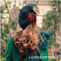 女士百搭贝蕾帽花朵画家帽羊毛毛呢花朵贝雷帽画家帽复古贝雷帽