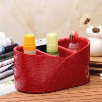 雅皮仕 奢华红色纹收纳盒 化妆品盒 杂物盒 多功能桌面收纳创意