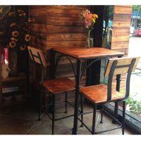 可定制 美式乡村成套餐桌椅组合奶茶店餐厅桌椅一桌四椅实木桌子