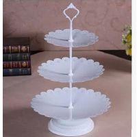 蕾丝花边三层铁艺蛋糕架 欧式多层纸杯蛋糕盘 白色高脚水果盘