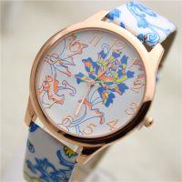 全球火爆,日内瓦Geneva皮革手表 经典青花瓷印花 女士手表 直销