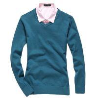 供应款 针织衫 韩版V领打底纯色百搭毛衣 套头线衫 蓝