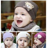 大号批发韩国儿童针织帽 可爱熊宝宝套头帽 婴儿卡通针织男女帽子