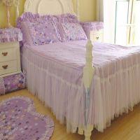 温婉花镜紫色浪漫蕾丝床裙床罩