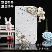 iphone5s水钻皮套 苹果5手机皮套 新款蝴蝶手机壳 铁塔手机保护套