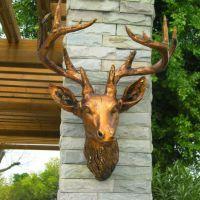 现代中式树脂创意动物头家饰招财古铜鹿头个性家居壁饰挂件工艺品