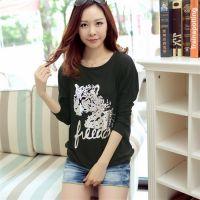 新款女装韩版秋装长袖T恤宽松蝙蝠袖烫金印花大码打底衫