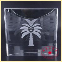 水晶内雕香蕉树图案 海南旅游水晶纪念礼品 水晶内雕定做价格