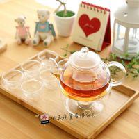 新款热销 高硼硅耐热玻璃茶具套件 玻璃茶具套件八件组 手工吹制