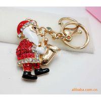 厂家直销 批发供应 满钻圣诞饰品 萨克斯圣诞老人钥匙扣