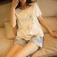 14新款日系森系清新印花数字兔子休闲短袖圆领T恤打底衫女 夏