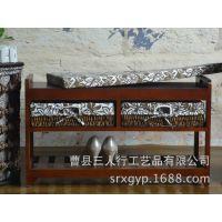 换鞋凳田园风实木门厅换鞋凳储物坐凳烧色 创意收纳木质鞋凳